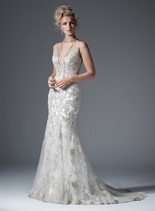 Deep v wedding dress necklines on trend for 2017 for Designer wedding dresses at discount prices