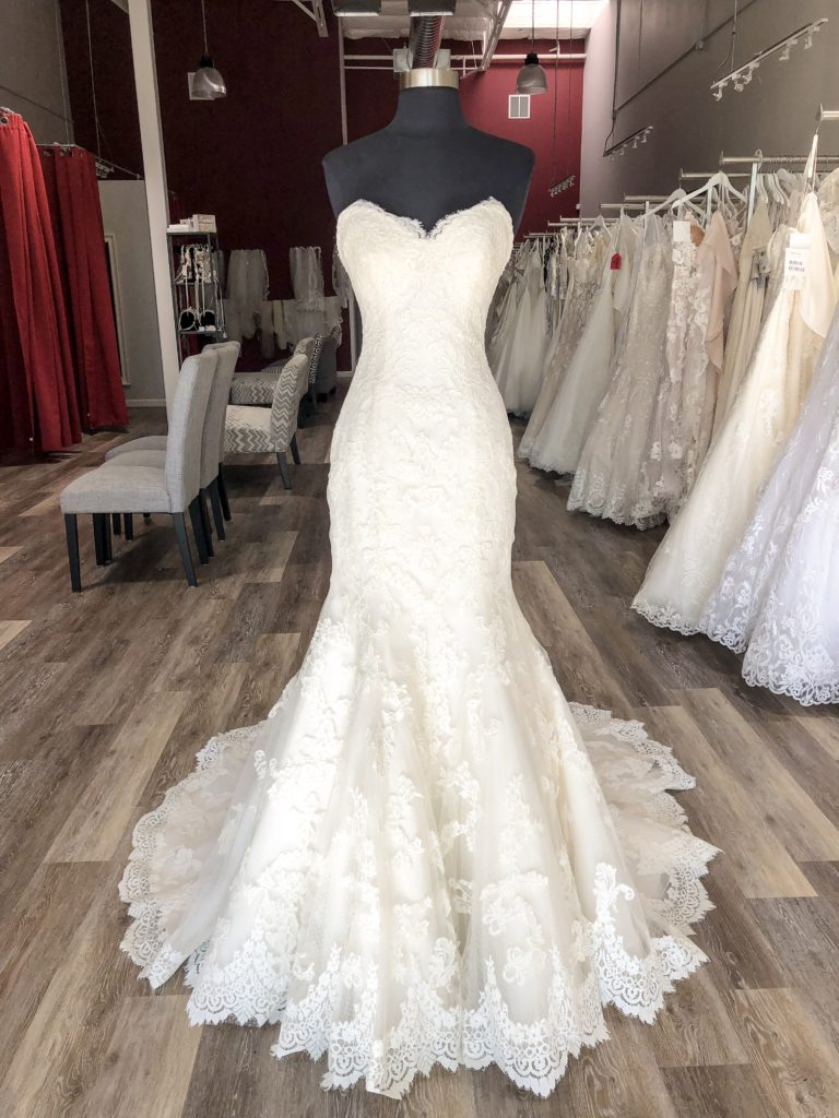 strapless sweetheart neckline lace mermaid wedding dress from Maggie Sottero