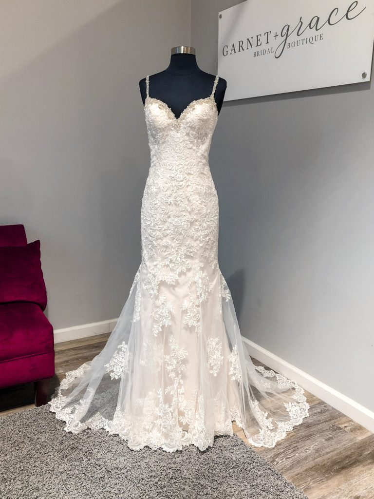 sexy wedding dress with beaded straps Hayward, CA bridal store