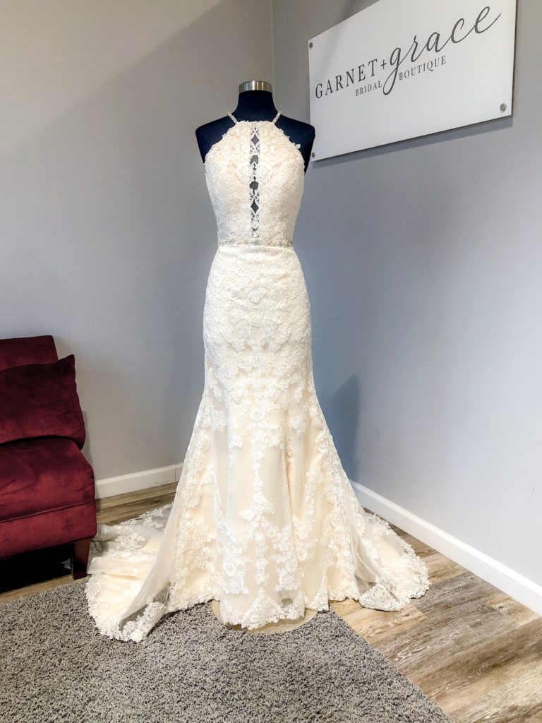 high next wedding dress with plunge front Kitty Chen