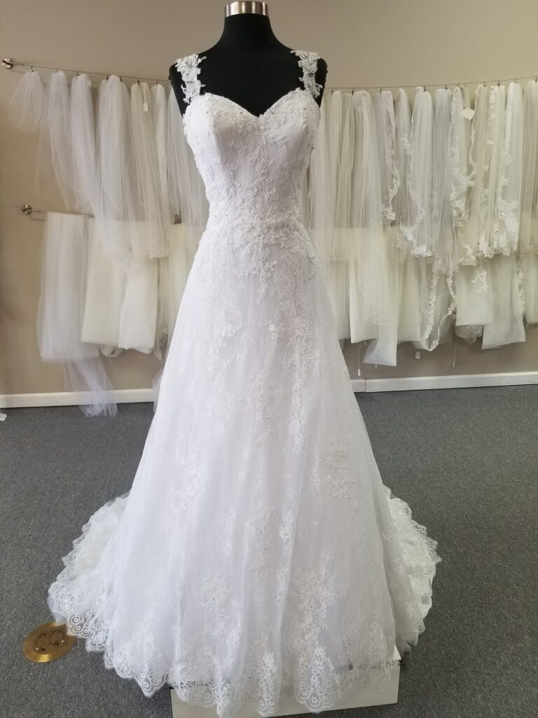 cap sleeve lace aline wedding dress for $599