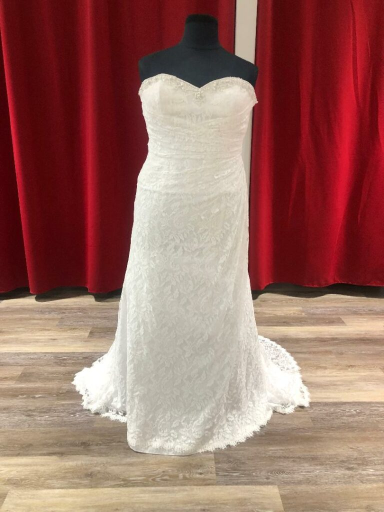 ruched lace white wedding dress