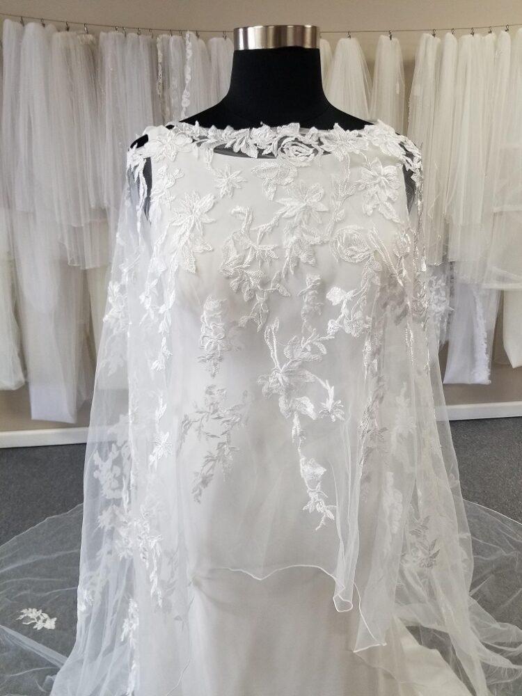high neck drape front cold shoulder wedding cape