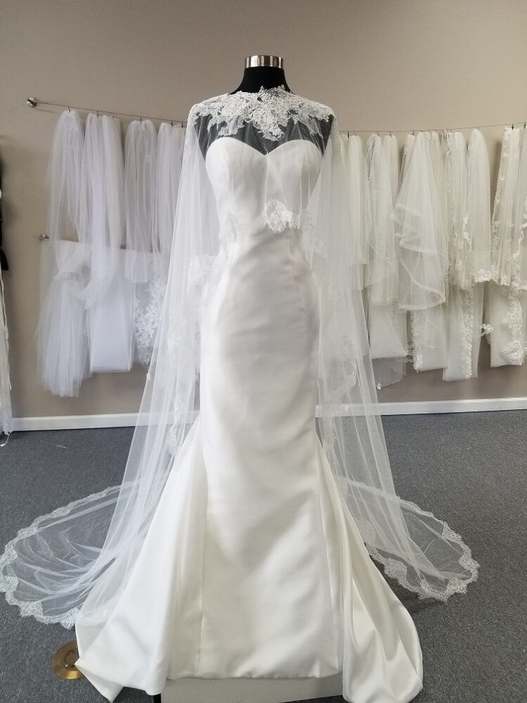 chantilly lace trimmed wedding cape