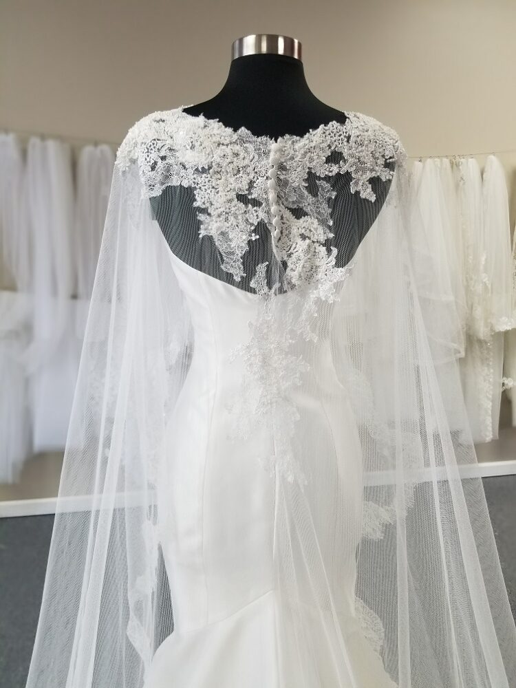 back of lace wedding cape