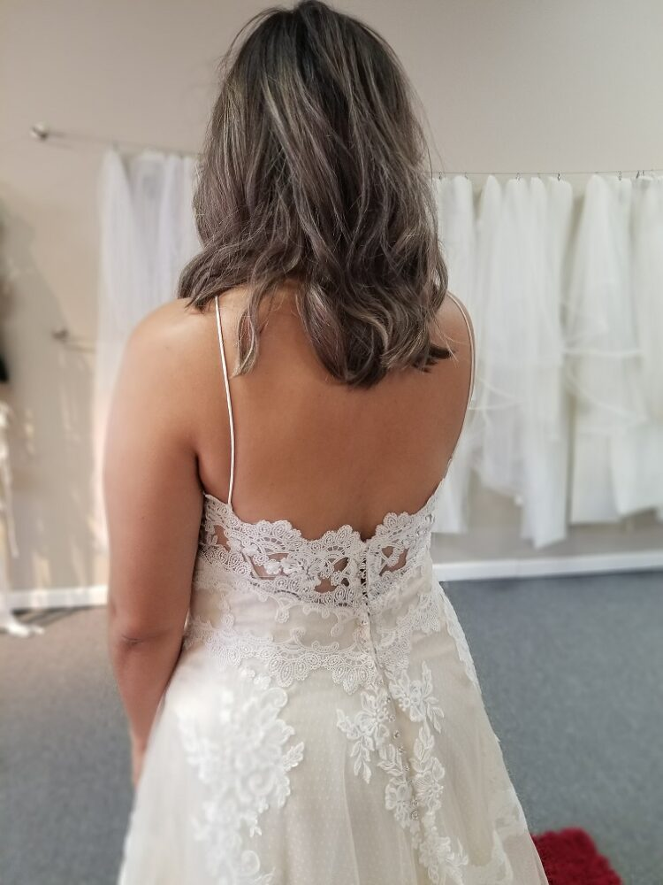 illusion corset back of aline wedding dress