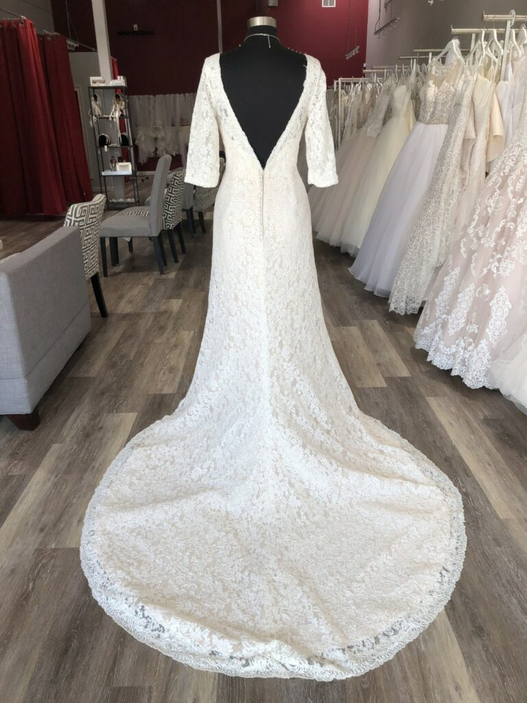 love back long sleeve lace wedding dress