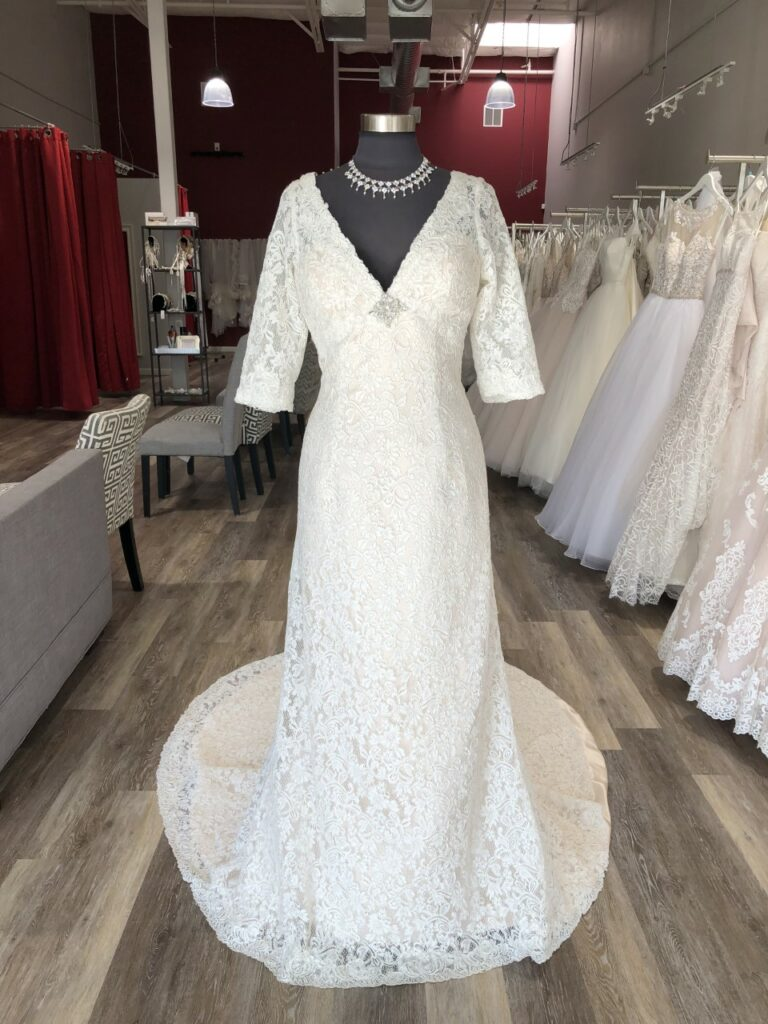 3/4 length sleeve lace sheath wedding dress