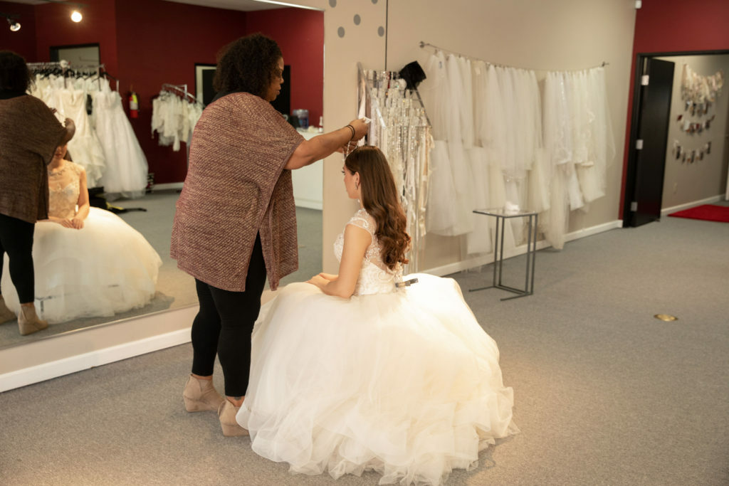 bride in ballgown wedding dress