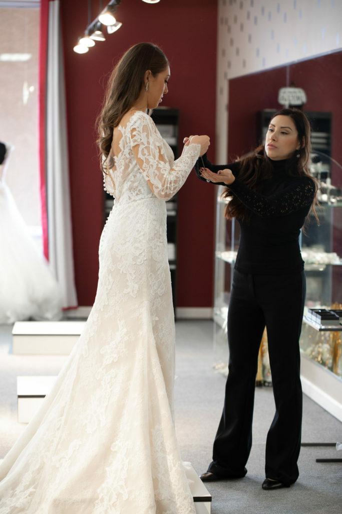 bride and consultant in a Hayward, California bridal boutique