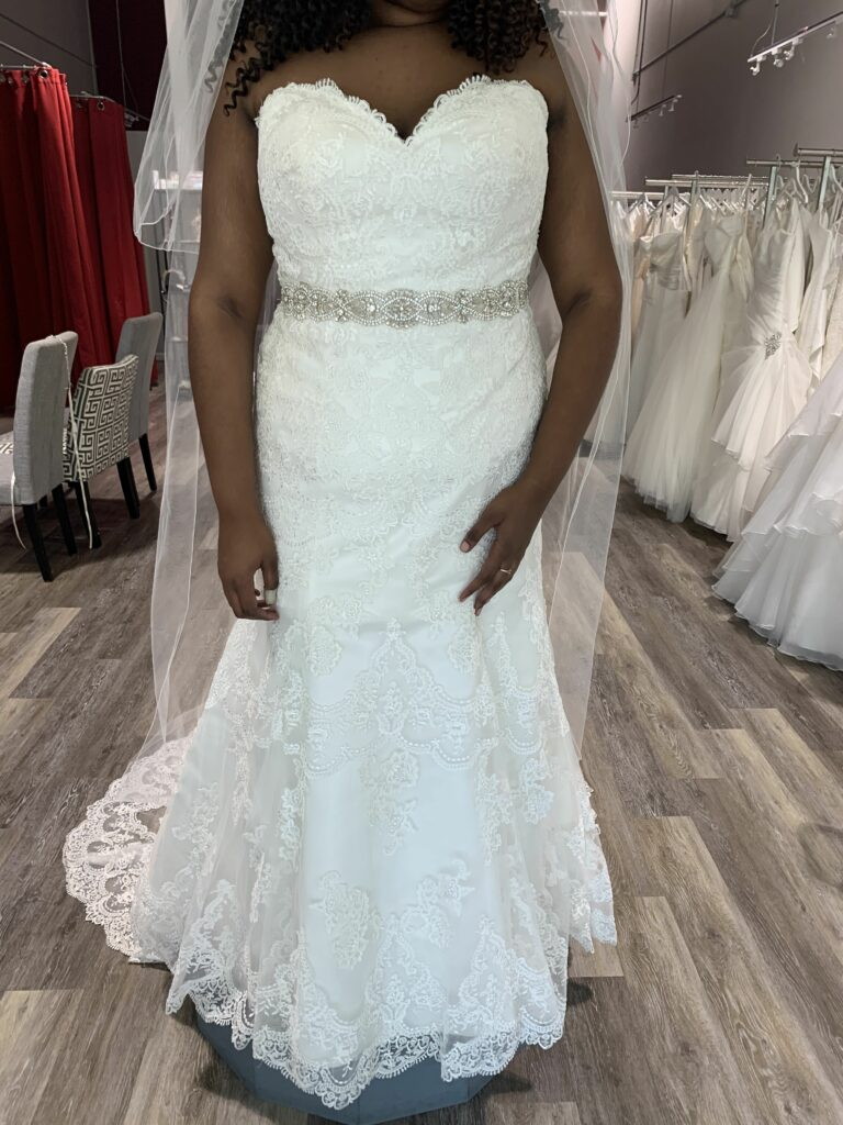 strapless lace wedding dress with beaded belt