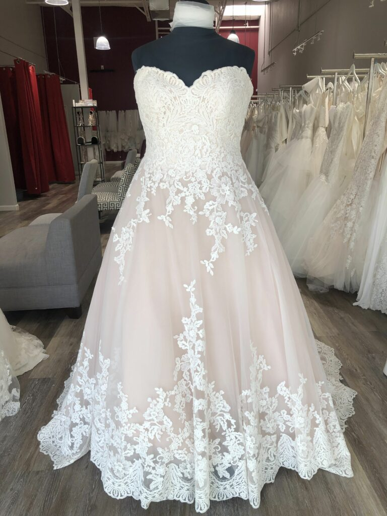 plus size champagne and ivory lace and tulle ballgown wedding dress