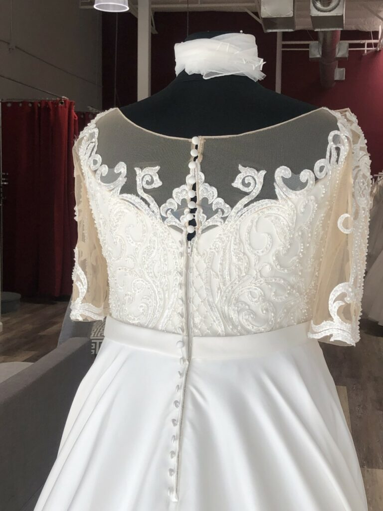 high back plus size wedding dress