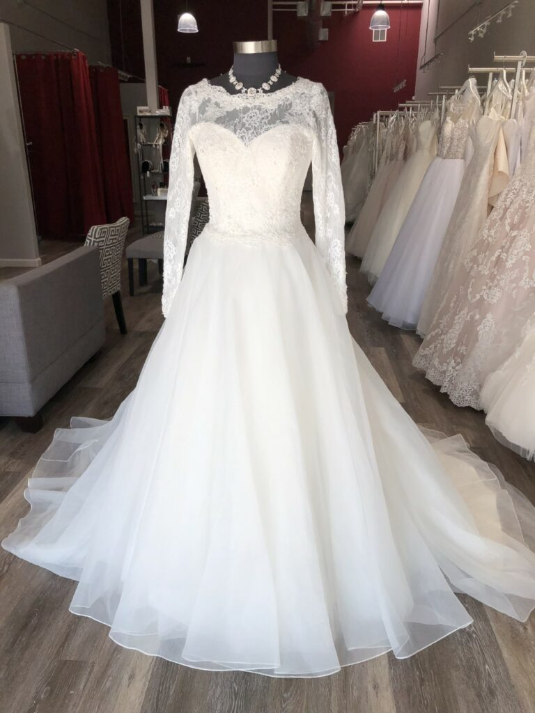 long sleeve organza ballgown affordable wedding dress