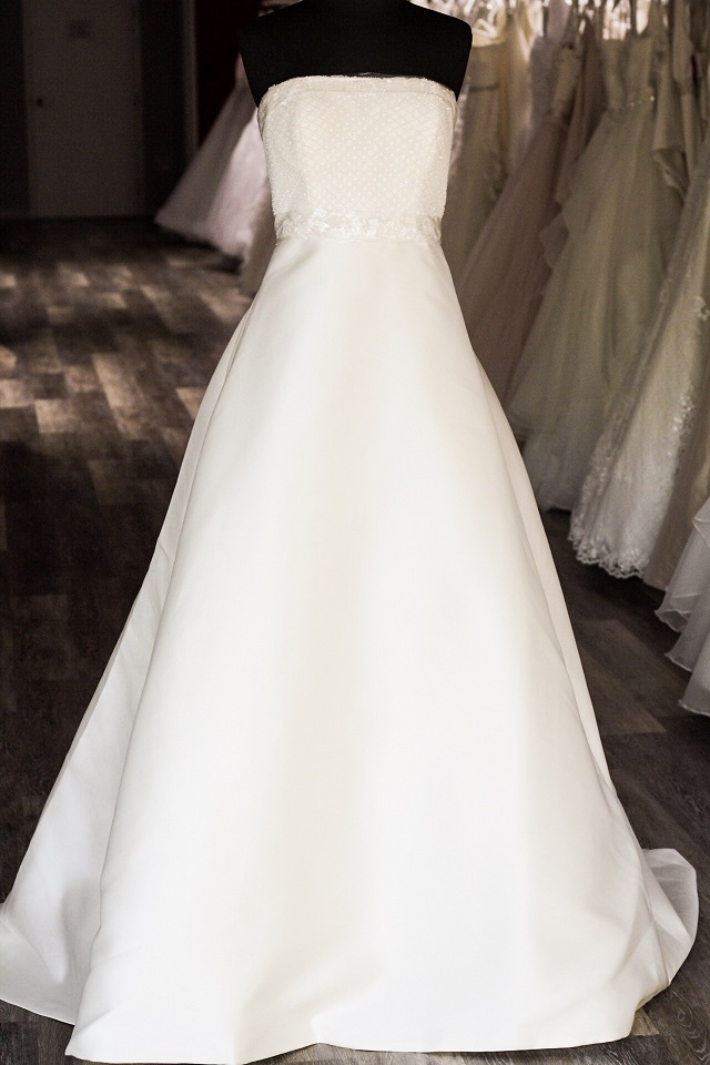 classic satin aline wedding dress $499