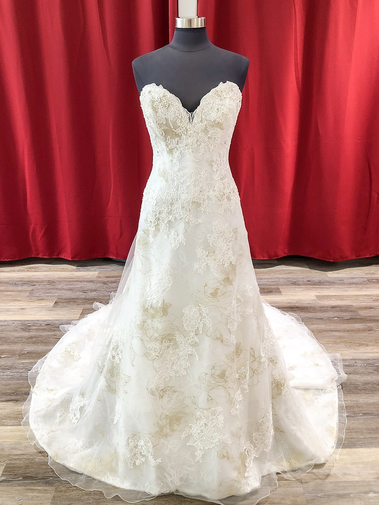 ivory and gold aline wedding dress for $499