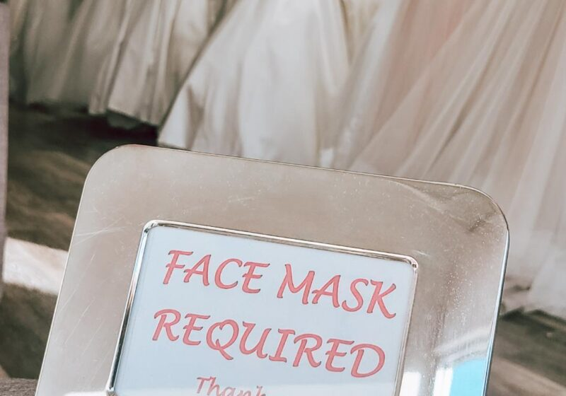 face mask required sign at bridal store in hayward california