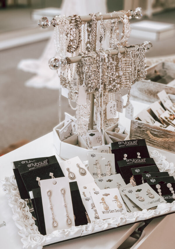 wedding dress accessories earrings and bracelets in whittier california bridal store