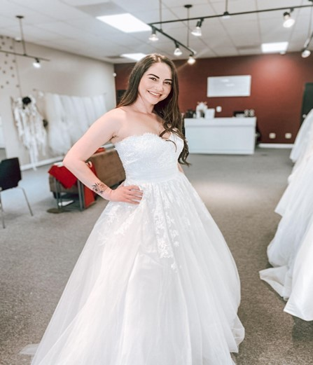 wedding dress sample sale strapless lace and tulle ballgown wedding dress whittier california