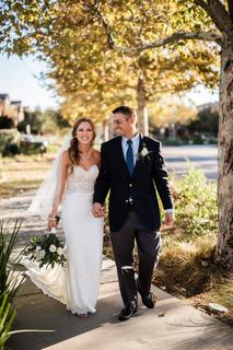 Krista's Pronovias Crepe Sheath Wedding Dress