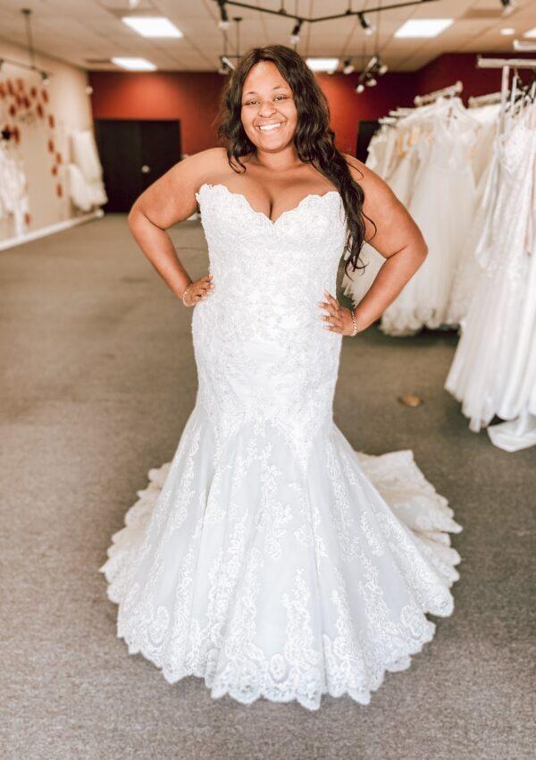 plus size bride in lace mermaid discount wedding dress whittier california