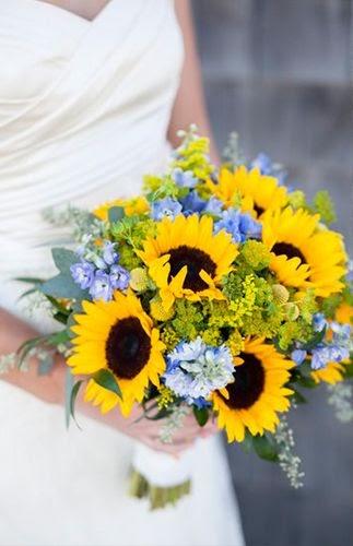 sunflower wedding bouquet with wedding dress